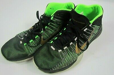 cheap for discount a0b73 09875 Nike Zoom Ascention Men s Basketball Black- Gold- Green (832234-002) Size