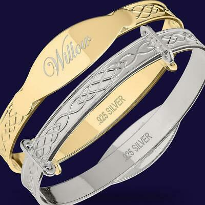 WILLOW Engraved Baby Christening Newborn Gift Bangle Bracelet 925 Silver / Gold