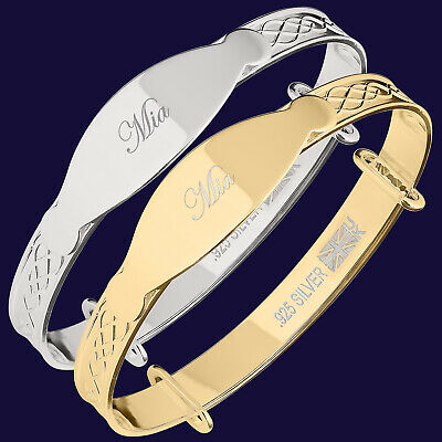 MIA Engraved Baby Christening Newborn Gift Bangle Bracelet 925 Silver / Gold