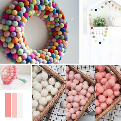 10x Fluffy Wool Felt Balls Nursery Garland Decor Pram Hanging Ornament DIY Gift