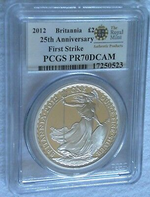 2012 Great Britain Britannia £2 Two Pound Silver Coin ~ Pcgs Pr70 Dcam ~ Pop 370