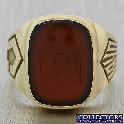 1940s Antique Art Deco 10k Yellow Gold Intaglio Carnelian Signet Ring Y8