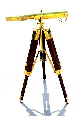 Solid Brass Nautical Pirate Telescope W/Tripod Working Spyglass Collectible Item