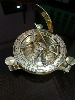 """4"""" Vintage Maritime Brass Sundial Compass Pocket WEST LONDON Reproduction Gift."""