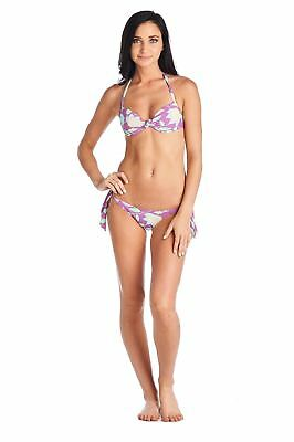 9186fe84a5 Cia Maritima Women's Floral Halter-Bra Bikini Set Tie Side In Purple 's'