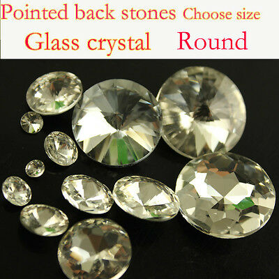 Clear Rivoli Round crystal Rhinestones Pointed foiled Back Glass beads stones pk