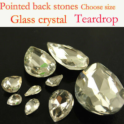 Vintage clear teardrop crystal Rhinestone Foiled Pointed Back Glass bead pk size