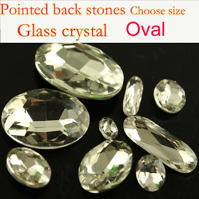 Vintage Clear Oval crystal Rhinestone Faceted Pointed foiled Back Glass beads pk
