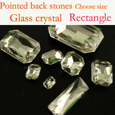 Vintage clear rectangle crystal Rhinestone Faceted Pointed Back Glass beads Y-pk