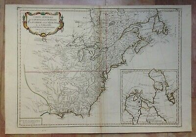 Eastern America 1776 D'anville/santini Large Antique Map In Colors 18Th Century