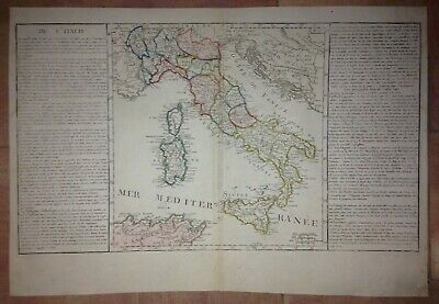 ITALY 18e CENTURY by CLOUET LARGE COPPER ENGRAVED MAP IN COLORS