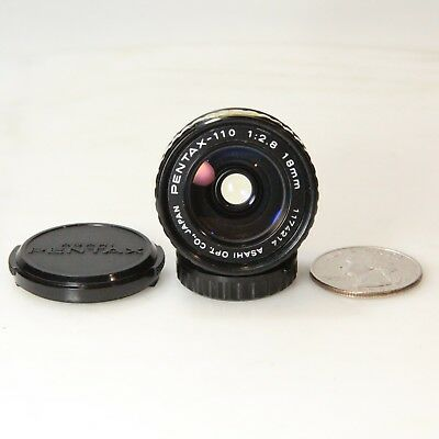 PENTAX-110 18mm 1:2.8 WIDE ANGLE MINI LENS PRIME ADAPTS TO MIRRORLESS (C1148)