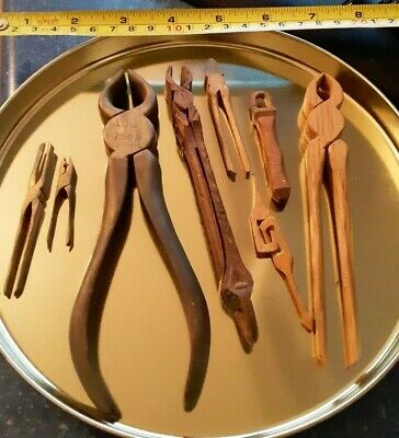Antique Folk Art Hand Made Carved Wood Pliers and Miniature Tools Lot