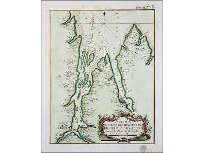British Guiana old map Rivieres de Demerary Bellin 1764