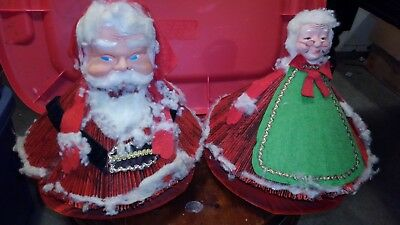 Vintage 1950s SANTA Standing Christmas Decoration Paper Mache Cotton Felt lot 2