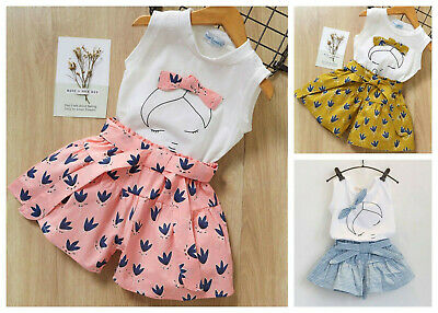Girls Top and Shorts sets Sleeveless Outfit Summer Set Age 2 3 4 5 6 7 8 years