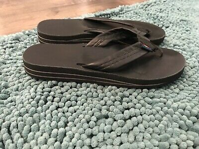 bcd891139 Rainbow Sandals Women s Black Double Layer Thick Strap Sandals Size XL  8.5-9.5