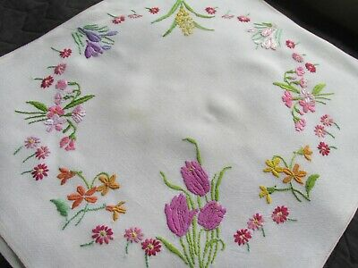 Vintage Hand Embroidered Cushion Cover-BEAUTIFUL SPRING FLORAL'S