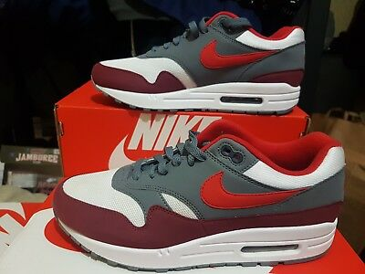 new product 03083 a8ebc Nike Air Max 1 University Red Uk 7.5 Ah8145-100 Red Grey White Brand New