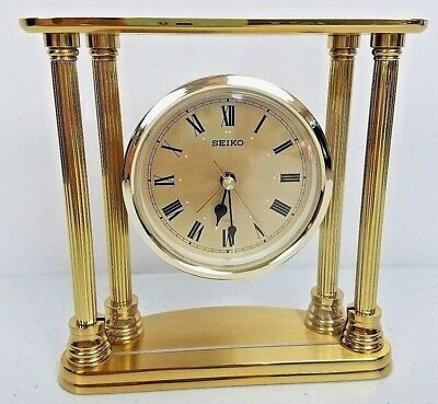 Seiko Brass Floating Dial Table Clock Gold Desk Mantle Clock Works EUC