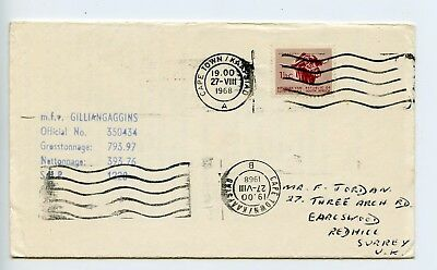 South Africa 1968 cover mfv Gilliangaggins Cape Town paquebot ? (N212)