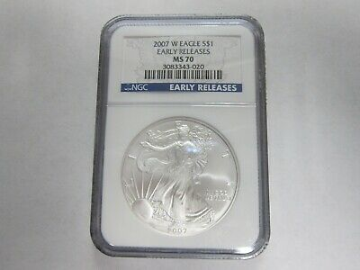 2007-W Early Releases Silver Eagle Dollar $1 NGC MS 70 1 oz Silver