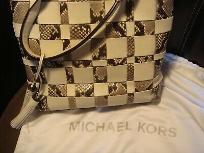 MICHAEL KORS Ivory Snakeskin Woven Leather Vivian Large Tote Bag Python 6aa8619497835