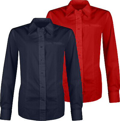 Ladies Long Sleeve Shirt Womens Button Up Plain Office Formal Work Blouse Top