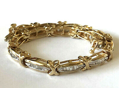 10K Solid Yellow Gold 90 Natural Diamond 2CTTW Baguette Ladies Tennis Bracelet