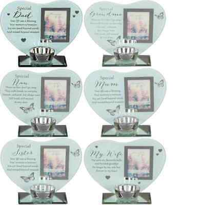 Thoughts of You Memorial Candle Tea light Holder Photo Frame Remembrance Plaque