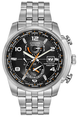 New Citizen World Time AT Eco Drive ST Steel Black Dial Men's Watch AT9010-52E