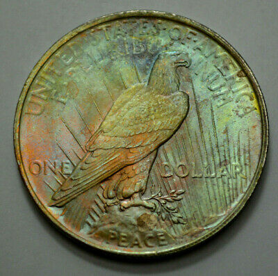 1923-P  Peace Dollar Silver $1.00 US Coin, Toned, NO RESERVE $ !!