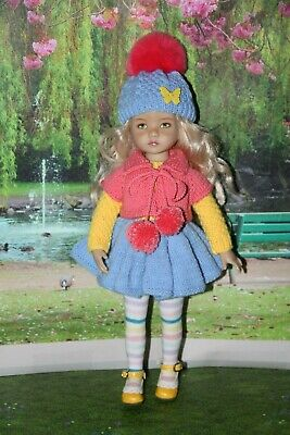 "Outfit FOR Dianna Effner 13"" Little Darling Dolls=Sweater Hat Dress Tights=NEW"