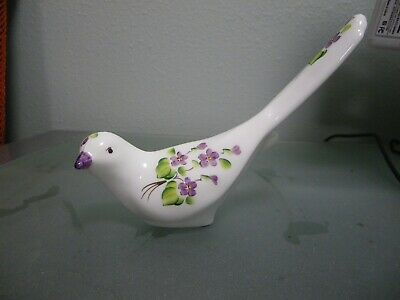 Fenton milk glass white hand painted floral design dove signed