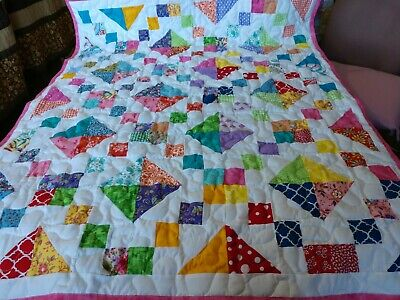 Handmade Pieced Scrappy Jewel Box Baby Girl Crib Lap Throw Quilt Throw Blanket