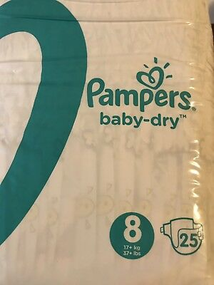 Non-Vintage Pampers Baby Dry Size 8 Diapers From The UK Full Pack 25ct Sealed