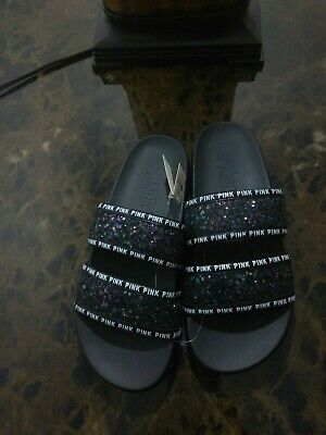 d3e2144e3b2 VICTORIA SECRET PINK Slides Bling Sequins Mermaid Size Small 5-6 NEW ...