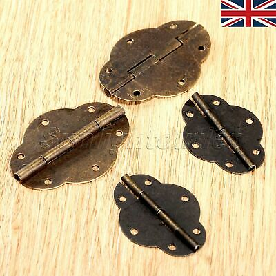 2/10Pcs Antique Brass Door Butt Hinge Oval For Cabinet Cupboard Dolls House UK