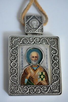 Antique Marked 84 Russian St Filigree Silver Enamel Riza Icon Painting Russia