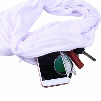 Scarf With Pocket Scarf All-match Women With Zipper Pocket Scarf Soft Loop GI