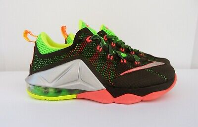4b4d0581424 NIKE LEBRON XII 12 Low GS Remix Black Metallic Silver Green Size 4.5 ...