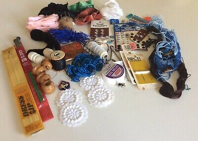 Large Selection Vintage Craft Items Inc. Clarke&Co'sbutton Thread On Wooden Reel