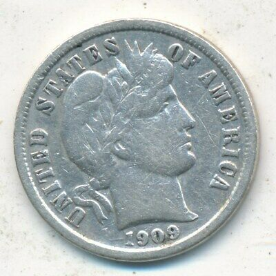 1909-S Barber Silver Dime-Nice Circulated Barber Dime-Ships Free!