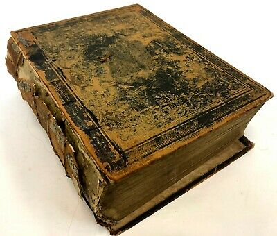 Antique 1825 German Family Bible Heavily Illustrated Previous Restoration Antiquarian & Collectible