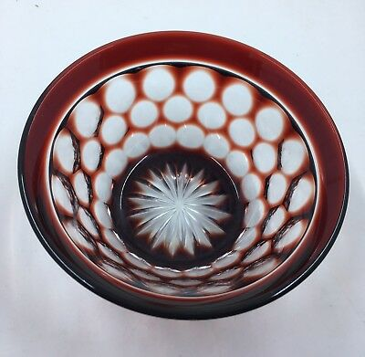 Vintage Red Cut to Clear Glass Bowl