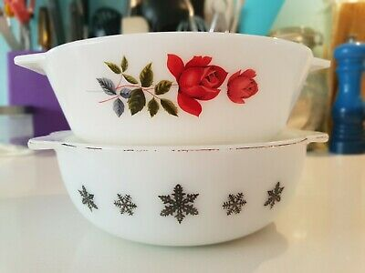2 x Vintage Retro English JAJ Pyrex Snowflake & June Rose Casserole Dish