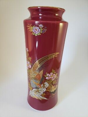 Red Chinese Porcelain Table Vase With Bird/Floral Design