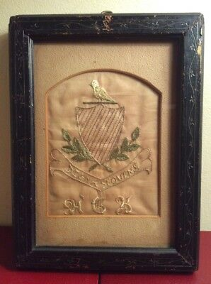 Early Primitive Antique Hand Stitch Armorial Embroidery Monogramed Crest Emblem