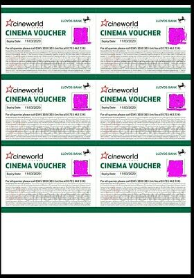 Six (6)Cineworld CINEMA TICKETS / VOUCHERS (Club Lloyds) Expires 11th March 2020