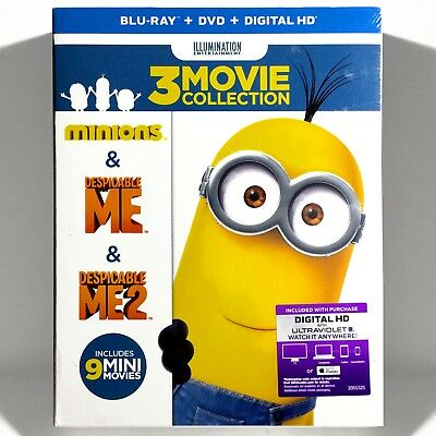 Despicable Me 3-Movie Collection (Blu-ray/DVD, 2016, 6-Disc Set) Brand New !